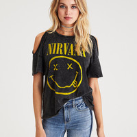 Cold Shoulder Nirvana Graphic T-Shirt, True Black