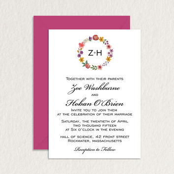 Printable Wedding Invitation / Modern Watercolor Floral Monogram A7 / Wedding Stationery