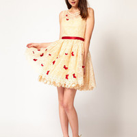 Nishe Embroidered Dress with Butterfly Detail