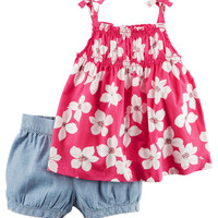 2-Piece Floral Tie Tank & Chambray Bubble Short Set