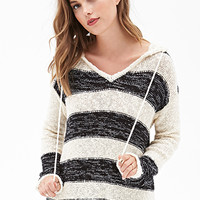 FOREVER 21 Striped Sweater-Knit Hoodie