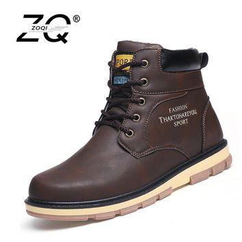 Super Warm Men's Winter Leather Boot Men Outdoor Waterproof Rubber Snow boots Leisure