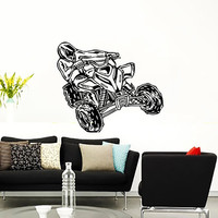 Wall Decal Vinyl Sticker Decals Art Home Decor Design Mural ATV Quad Quad Bike Racing Rider Extreme Speed Jumping Motorbike Bedroom AN496