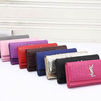YSL Women Leather Buckle Wallet Purse-1