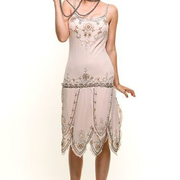 ROARING 20's Cream Beaded Flapper Gatsby Dress - Unique Vintage - Cocktail, Pinup, Holiday & Prom Dresses.