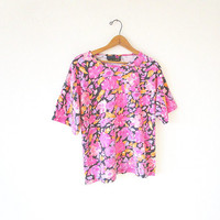 Wms 80s/90s Vintage PINK FLORAL Active Elements Flowered Paintbrush Boxy POCKET T Shirt Sz M