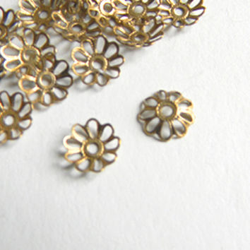 Brass Ox Daisy Bead Cap Vintage Style Filigree 9mm - 12 pcs
