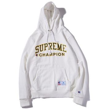 Champion & Supreme Co Printed Men And Women Plus Velvet Hood Hooded Sweater White