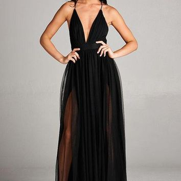Deep V Plunging Neckline Layered Maxi Dress