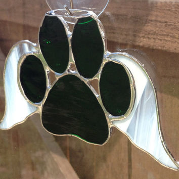 Dark Green Stained Glass Paw Print With Angel Wings Suncatcher