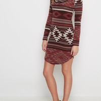 Burgundy Southwest Cowl Neck Sweater Dress | Casual Dresses | rue21