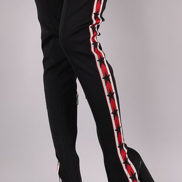 Side Stripe Pointy Toe Over-The-Knee Chunky Boots