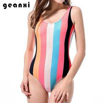 One Piece Swimwear 2018 Black And White Striped Brazilian Swimsuit Women Sexy Halter Beach Bathing Suit Simple Hipster Monokini