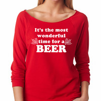 Red It's The Most Wonderful Time For Beer Raglan Shirt