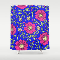 Cobalt Blue Floral Shower Curtain by PeriwinklePeacoat