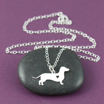 SALE - Dachshund Necklace - Dachshund Jewelry - Dog Necklace - Dachshund Pendant - Sterling Silver - Pet - Doxie Necklace - Sausage Dog