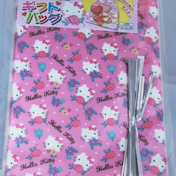 15 pcs Clear Poly / Cello Gift Bags - Hello Kitty with Flowers by Sanrio pink