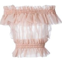 Alexander Mcqueen Frilled Cropped Top - Spinnaker 141 - Farfetch.com