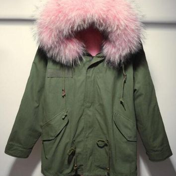 2016 Winter Jacket Women Parkas Top Quality Army Green Large Real Raccoon Color Fur Collar Hooded Coat Outwear