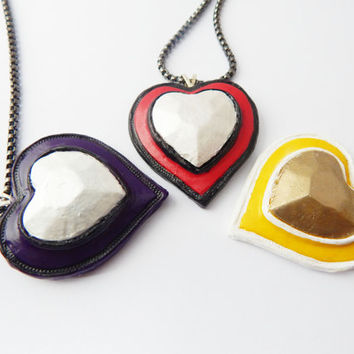 Valentines heart necklace for her valentines necklace valentines jewelry heart jewelry love necklace valentine gift handmade pendant clay