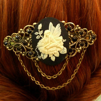 Large hair clip in black bronze with beautiful cameo elves