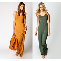cotton Racer Back Maxi tank dress women Solid color Clubwear Summer Dress floor length TD07101010002