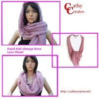 Hand Knit Vintage Rose Lace Shawl | Cathy Creates - Handmade knit and crochet accessories and apparel