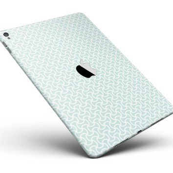 """The Mint and White Axed Pattern Full Body Skin for the iPad Pro (12.9"""" or 9.7"""" available)"""
