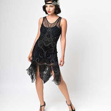 Preorder -  Iconic by UV Black & Bronze Beaded Mesh Atlantic Fringe Flapper Dress