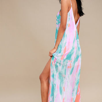 Flying Watercolors Fuchsia Print Maxi Dress