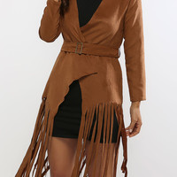 Brown Fringed Chamois Leather Belted Trench Coat