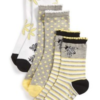 Girl's Tucker + Tate 'Bees Knees' Nonskid Socks (3-Pack)