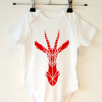 Cute Baby Onesuit, Cool Geometric Gazelle Baby Romper, Screen Printed Baby Suit, Cute Baby Gift