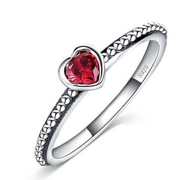 Love Heart Romantic Finger Ring Sterling Silver - Red, White, Pink