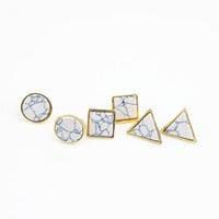 Geometric Faux Marble Gold Trimmed Post Earrings Studs