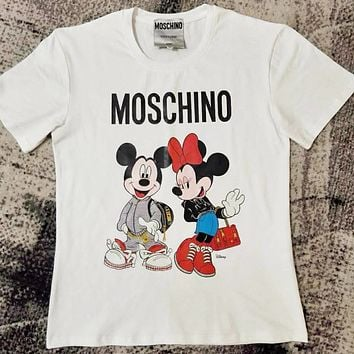 MOSCHINO New Fashionable Women Men Mickey Mouse Print T-Shirt Top White