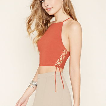 Lace-Up Cropped Cami