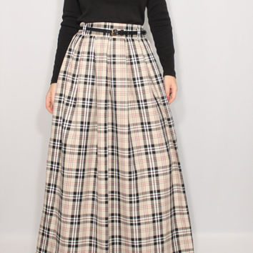 Beige plaid skirt Women maxi skirt High waisted maxi skirt with pockets Wool skirt