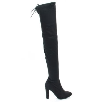 Amaya12 Black By Wild Diva, OTK Over Knee Dress Boots w Laced Back, Block Heel & Slouchy Shaft