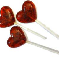 8 Heart Lollipops - Gourmet Flavor Raspberry Spearmint - Red and Green