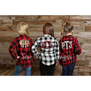 KIDS Flannel with Mermaid Sequin Monogram