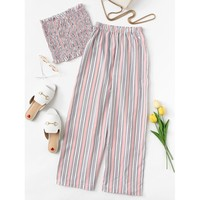 Frill Trim Striped Tube Top With Pants