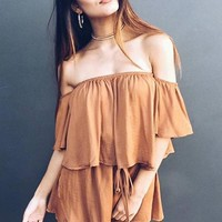 Pure Color Strapless Half Flare Sleeves Short Backless Jumpsuit