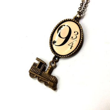 At King's Cross necklace, 9 3/4 train platform resin pendant and train charm