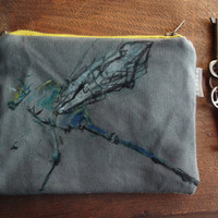 Dragonfly  Hand  Painted Purse Canvas Makeup Bag