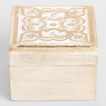 White Carved Square Wood Box