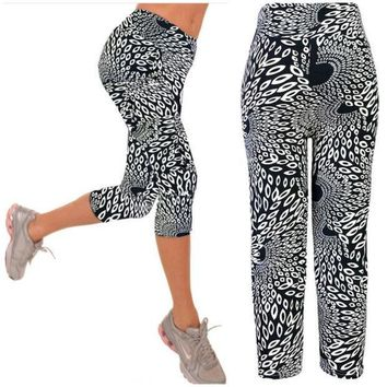 PEAPUG3 Capri Leggings High Waisted  black white Print Yoga Pants Lady's Finess Workout Casual Pants Gym Wear = 1933312196