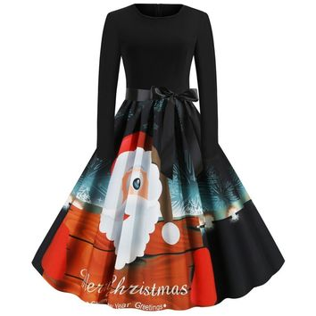 Costume Christmas Dress Women Long Sleeve 2019 Winter Robe Rockabilly Xmas Halloween Party Dresses Vintage Pinup Vestidos