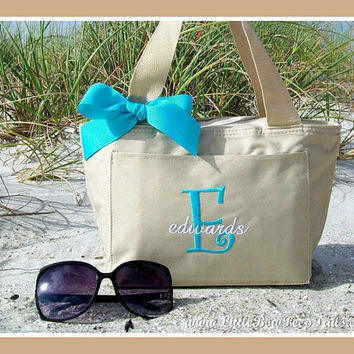 Khaki Initial and Name Family Name Cooler Tote - Personalized Beach Pool Drinks Beige Neutral Sand Aqua Blue Turquoise Insulated Solid Color