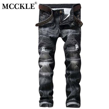 MCCKLE Mens Ripped Skinny Jean Trousers Streetwear Pleated Black Distressed Biker Jeans Pants Male Fashion Denim Joggers